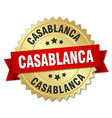 Casablanca round golden badge with red ribbon vector image vector image