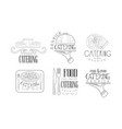 catering hand drawn retro labels set food and vector image