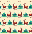 christmas seamless pattern deer and pine tree vector image vector image