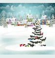 christmas winter village vector image vector image