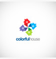 circle colorful house business logo vector image vector image
