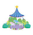 circus carousel scene in the landscape vector image vector image