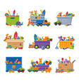 collection boxes with various toys plastic and vector image vector image