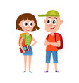 couple of tourists man and woman with backpacks vector image vector image