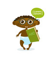 cute african american baby boy holding book vector image vector image