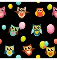 Cute Owl Seamless Pattern Background vector image vector image