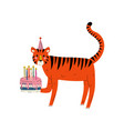 cute tiger wearing party hat with birthday cake vector image vector image