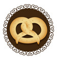 decorative frame with realistic picture pretzel vector image