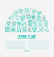 dental clinic concept with thin line icons vector image vector image