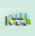 electric car charging at charger station vector image