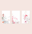 exotic pink flamingo birds with leaves and flowers vector image vector image