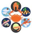 flat sea food concept vector image vector image