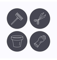 Gloves scissors and pot icons