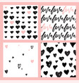 hand-drawn seamless doodle pattern with hearts vector image