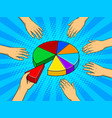 hands taking pieces of pie chart vector image