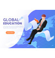 isometric web banner businessman sitting reading vector image vector image
