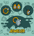 jeweler flat icons set vector image vector image