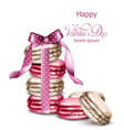 macaroons wrapped with a bow watercolor vector image vector image