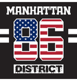 manhattan district t-shirt vector image vector image