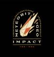 meteor impact geometric badge t shirt tee merch vector image