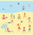 people relaxing on beach vector image