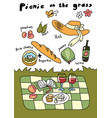 picnic on grass hand drawn sketch vector image vector image