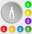 pliers icon sign Symbol on five flat buttons vector image