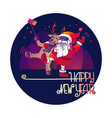 santa claus and deer happy new year vector image vector image