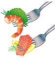 Seafood on fork
