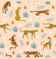seamless pattern tigers trendy tropical vector image vector image