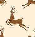 seamless pattern with jumping deers retro texture vector image vector image
