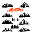 set mountain peaks on white background design vector image
