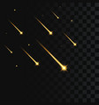 shooting stars on transparent falling gold star vector image vector image