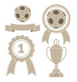 soccer icon ball ribbon award cu vector image vector image