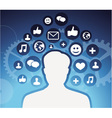 social media icons - male silhouette - concept vector image vector image