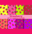 strawberry set seamless patterns strawberries vector image vector image