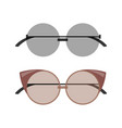 stylish female round and cat-eye sunglasses set vector image