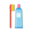 tube of toothpaste and toothbrush vector image vector image