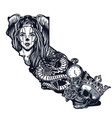 vintage monochrome chicano tattoo template vector image vector image