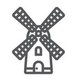 windmill line icon farming and agriculture vector image
