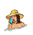 woman drowning in water phone call rescue service vector image