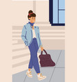 woman walking modern girl in city young vector image