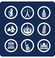 world famous places icons vector image vector image