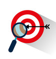 target with magnifying glass vector image