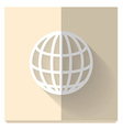 paper flat icon with a shadow symbol of globe vector image
