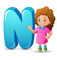 alphabet n with cute girl standing