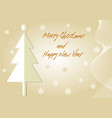 beige christmas card with christmas tree paper cut vector image