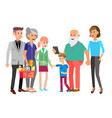 big family people character with kids vector image