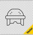 black line hockey helmet icon isolated on vector image vector image