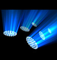 blue spotlights on dark background vector image vector image